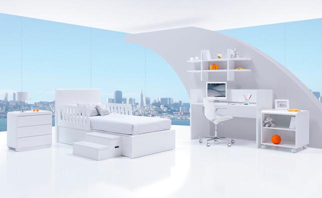 Cuna transformable Premium Kurve White izquierda 70x140cm convertida en habitación juvenil