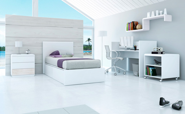 Cuna transformable Premium Kurve Coco izquierda 70x140cm convertida en habitación juvenil