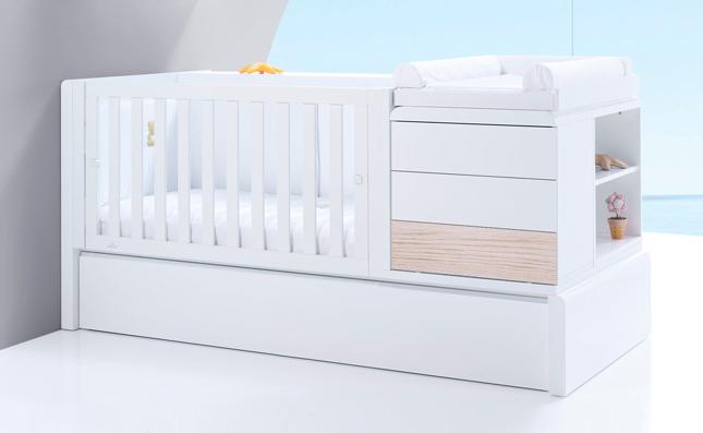 Cuna transformable cama Premium Kurve Coco izquierda 70x140 cm