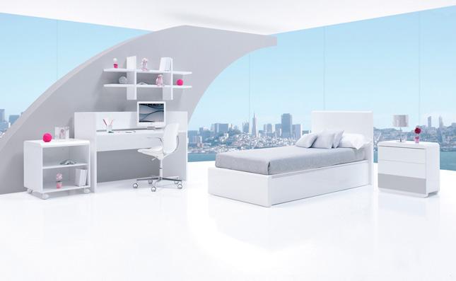 Cuna transformable Premium Kurve Grey derecha 70x140cm convertida en habitación juvenil
