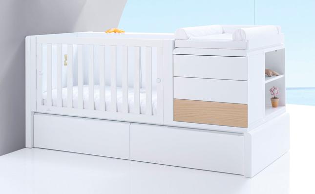 Cuna transformable cama Premium Kurve Nature izquierda 70x140 cm