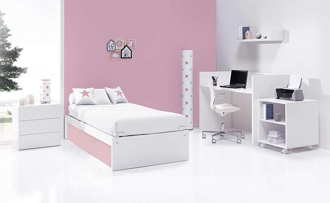 Cuna cama transformable sero even coral 70x140cm convertida en habitación juvenil