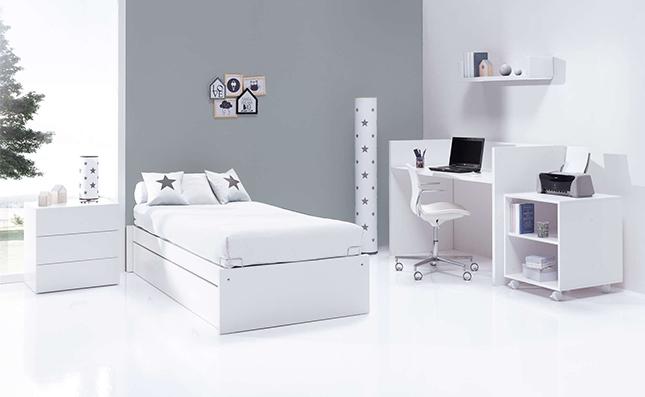 Cuna transformable sero even white 70x140cm convertida en habitación juvenil
