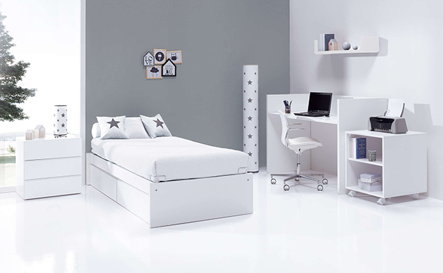 Cuna transformable 70x140cm convertida en habitación completa Sero Kubo White K551