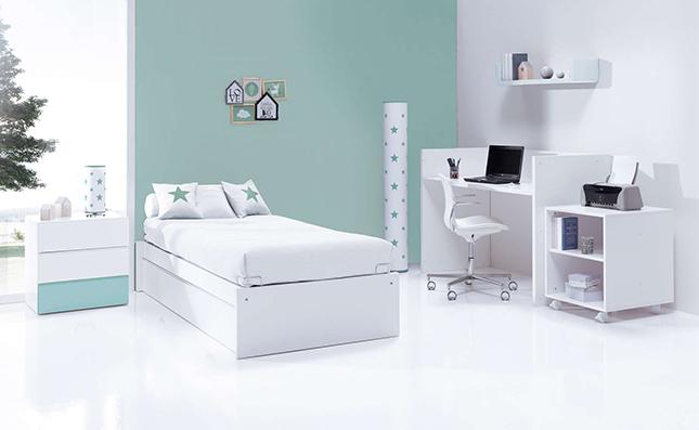 Cuna transformable 70x140cm convertida en habitación juvenil Sero Kubo Mint K551