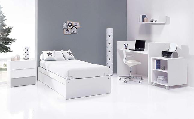 Cuna transformable 70x140cm convertida en habitación juvenil Sero Kubo Grey K551