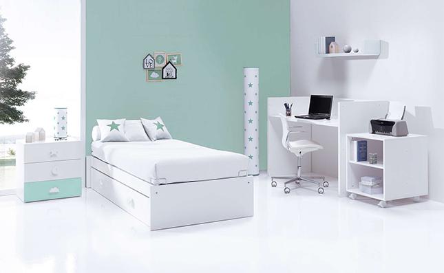 Cuna evolutiva Sero Bubble Mint 70x140cm convertida en habitación