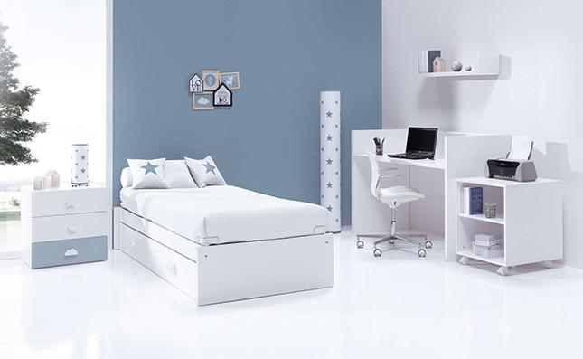 Cuna transformable en cama Sero Bubble Cielo 70x140cm convertida en habitación