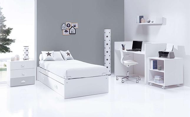 Cuna transformable y evolutiva Sero Bubble Grey 70x140cm convertida en habitación juvenil