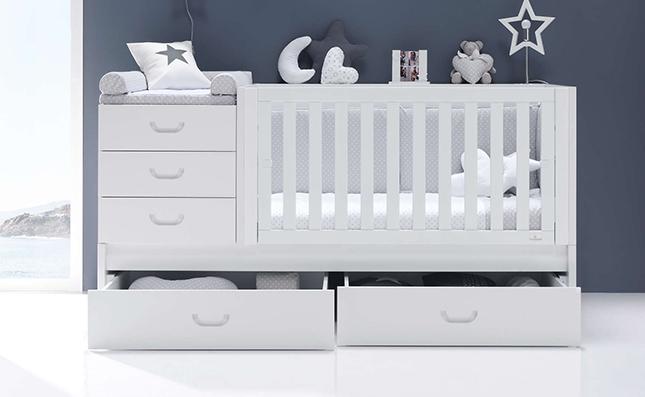 Cuna que se convierte en cama Sero Joy White K559 70x140 con cajones inferiores
