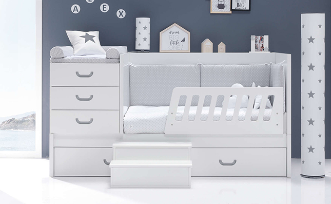 Maxicuna que se hace cama convertible Sero Joy Grey 70x140