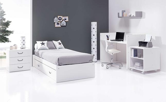 Habitación de bebé convertible con cuna cama Sero Joy Grey 70x140cm