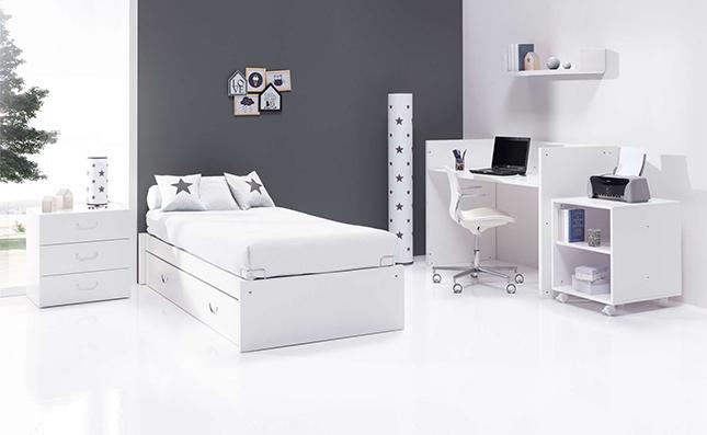 Cuna transformable y evolutiva Sero Joy White 70x140cm convertida en habitación juvenil