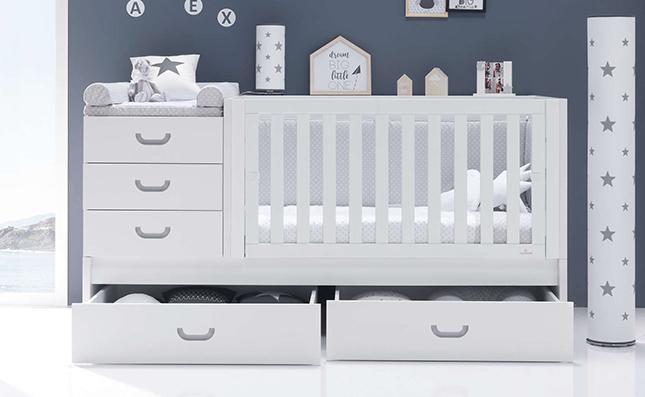 Cuna que se convierte en cama Sero Joy Grey 70x140 con cajones inferiores