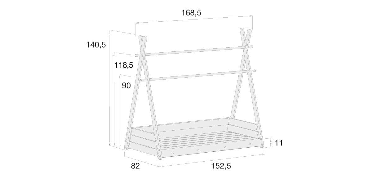 medidas estructura cama Montessori Homy 70x140cm