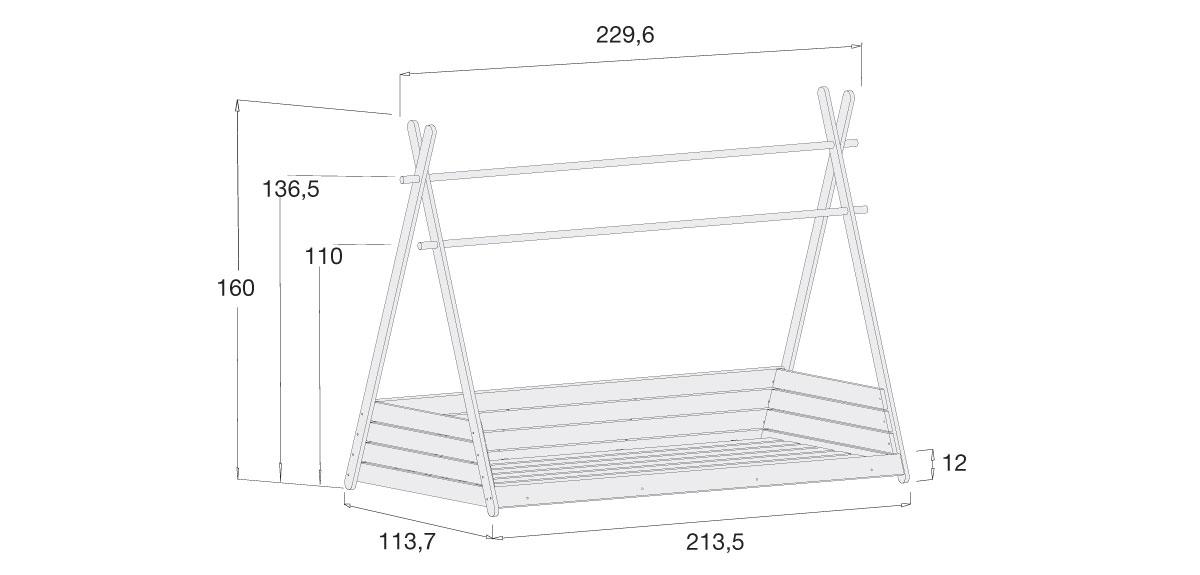 medidas estructura cama Montessori Homy XL 90x200 cm