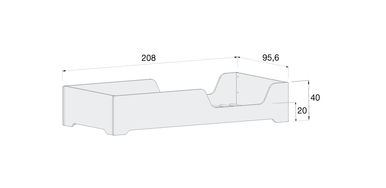 Medidas cama baja ILMOON XL 90x200cm de Alondra