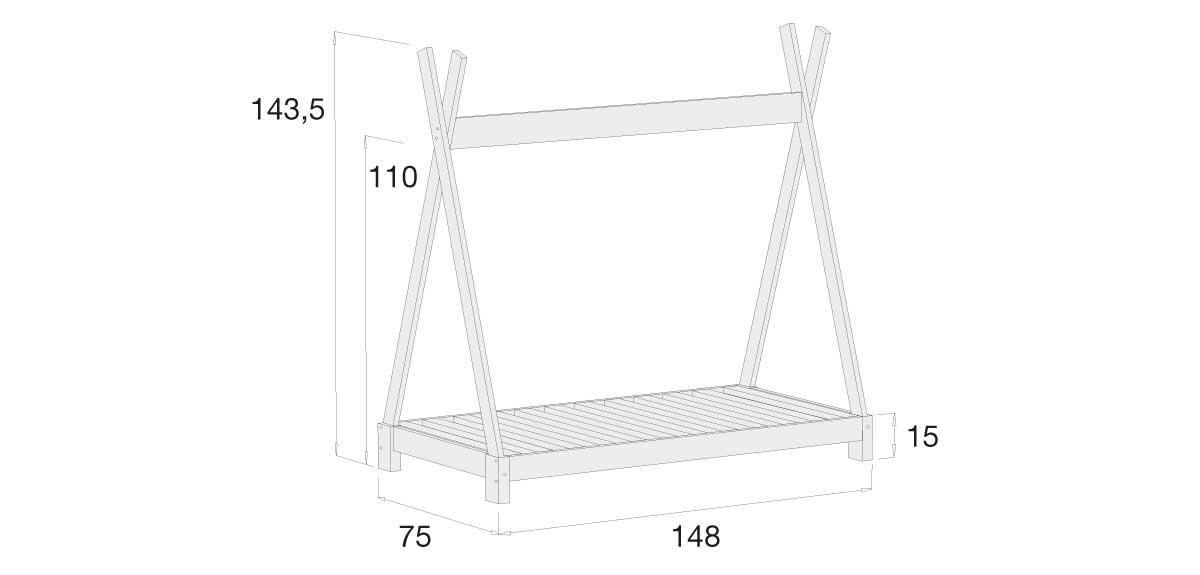 medidas estructura cama Montessori Indy 70x140cm