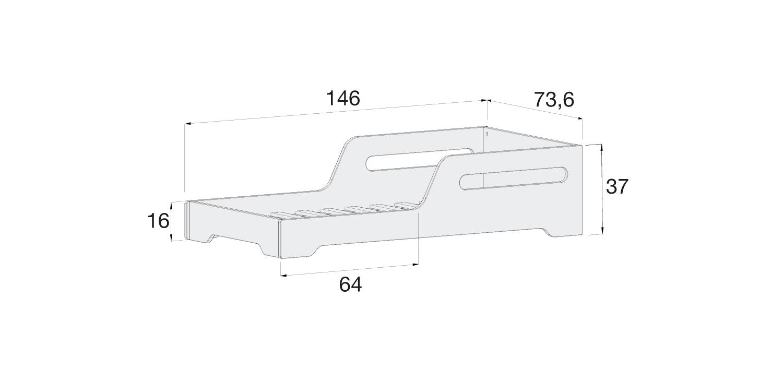 Medidas cama baja MONTBLUE 70x140cm de Alondra