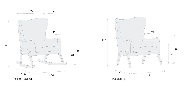 Medidas sillón lactancia modelo Glam de Alondra