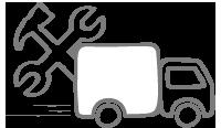Icono transportista entrega con montaje