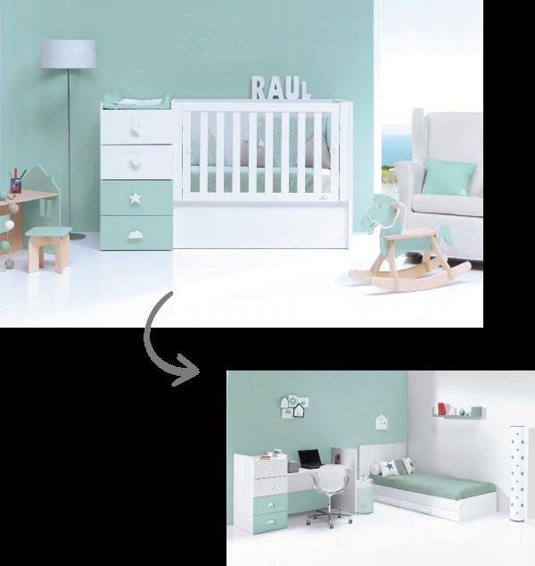 Cunas cama convertibles 60x120cm para habitaciones pequeñas