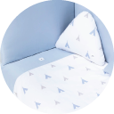 Textil para cunas convertibles color celeste y blanco