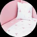 Textil de cuna color rosa y blanco