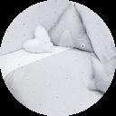 Textil para cunas que se hacen cama color gris claro y blanco