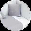Textil de cuna color gris y blanco