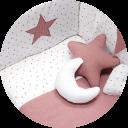 Textil de cuna color rosado y blanco