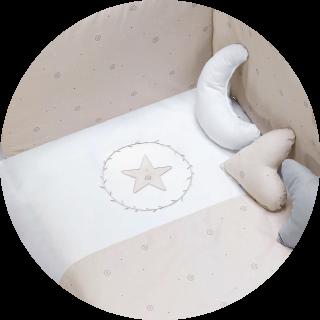 Textil para convertible bebé color beige y blanco